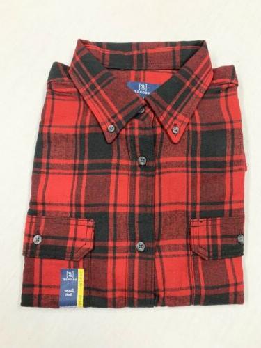 plaid flannel button down shirt red men