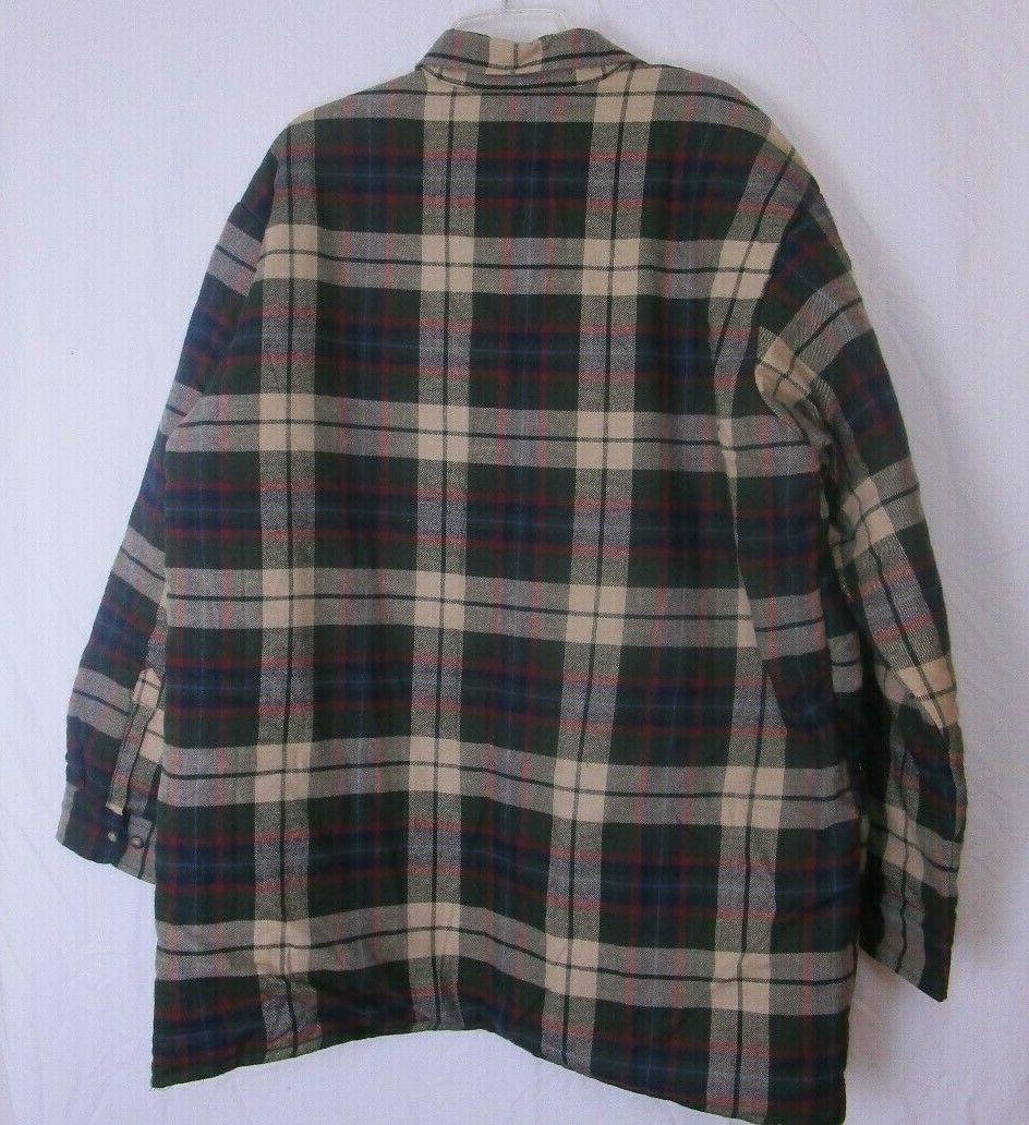 Towncraft Plaid Quilt Lined Shirt Mens Sz XL