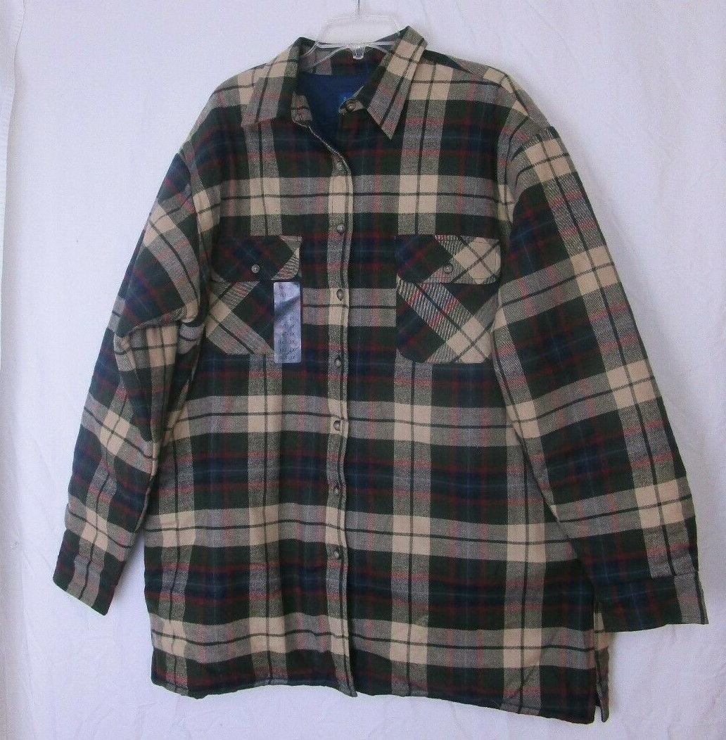 plaid flannel quilt lined work shirt mens