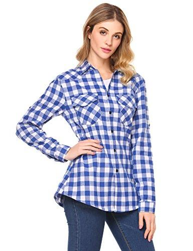 Zeagoo Women's Plaid Shirt, up Long Sleeve Shirt, Sky Azure,