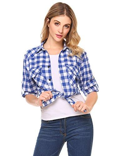 Zeagoo Plaid Flannel Shirt, Roll up Sleeve Cotton Sky Azure,