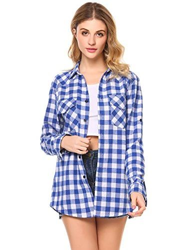 Zeagoo Women's Flannel Shirt, Roll Sleeve Sky Blue Azure, Small