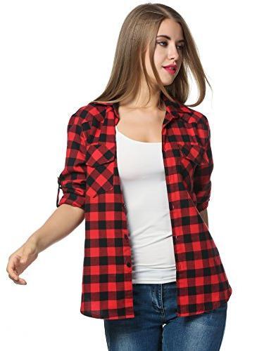 Zeagoo Womens Plaid Roll Boyfriend Button Down Flannel Red, Large