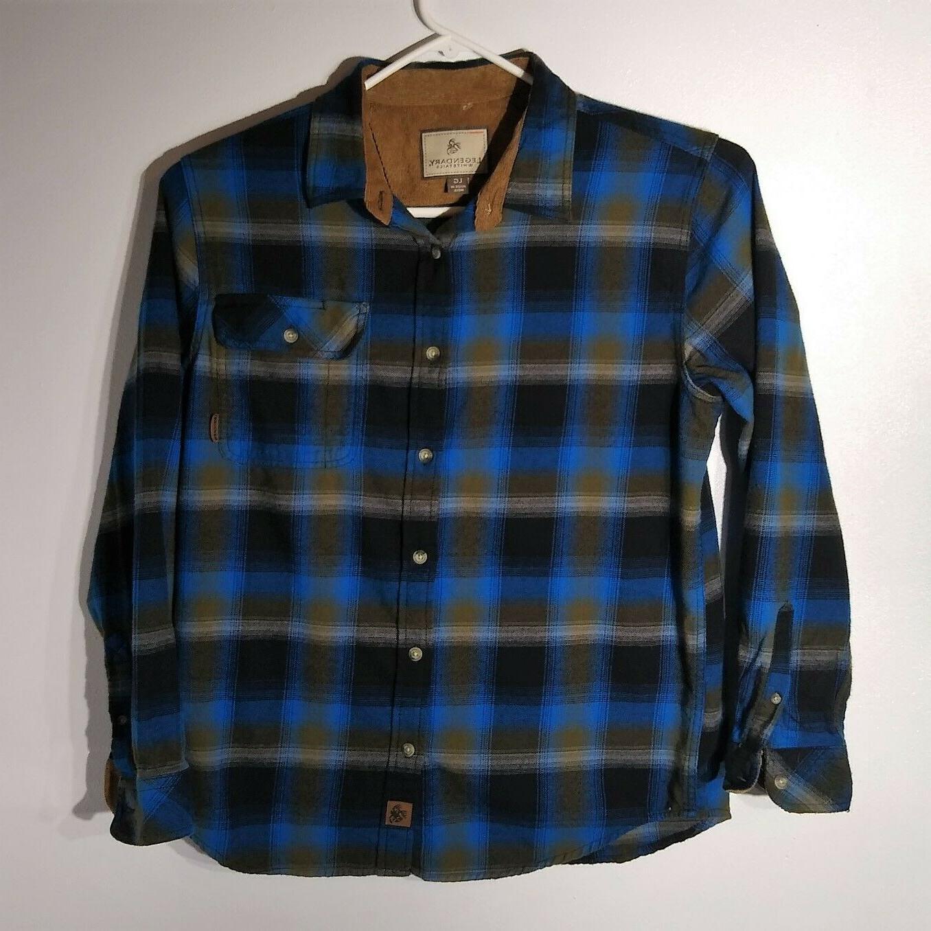 Legendary Whitetails Plaid Flannel Shirt Mens LARGE L Blue/B