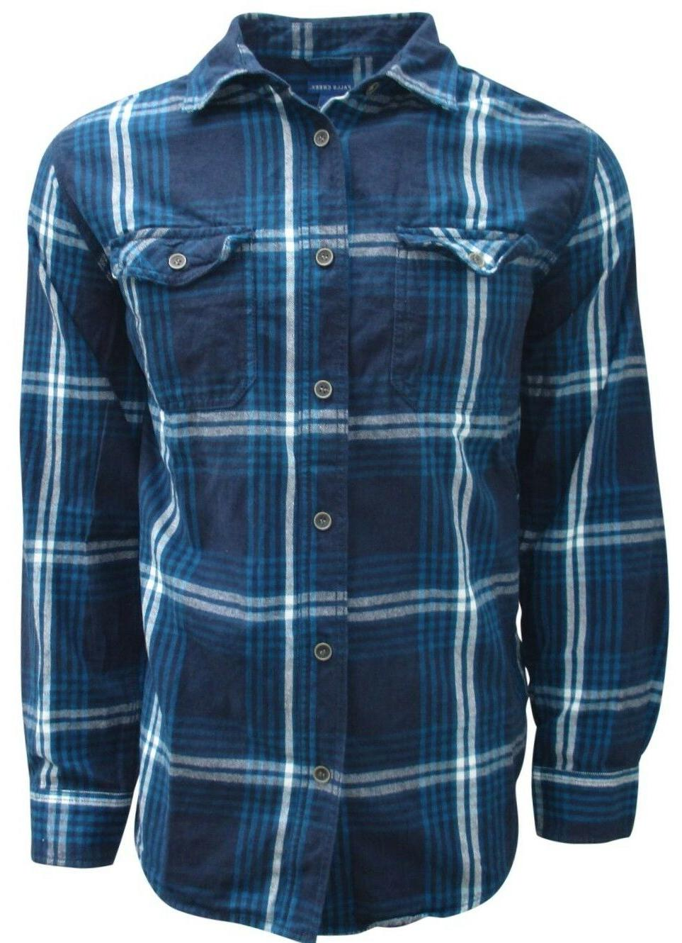 Plaid, Flannel Men, Long Sleeve Down Size to
