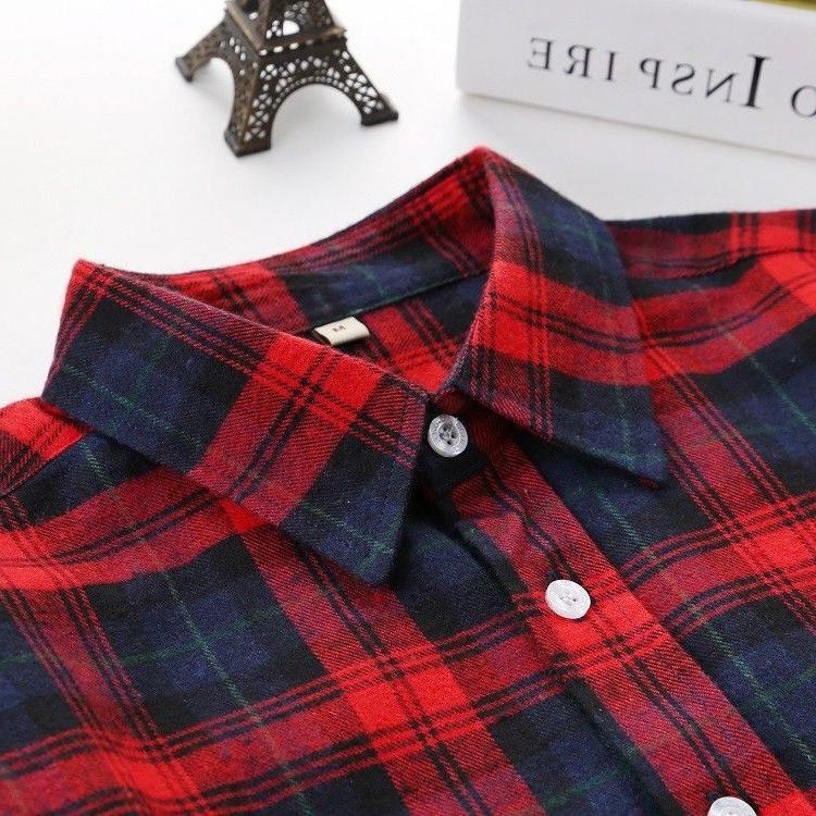 Plaid Style Women's Long Flannel Casual Blouses Tee