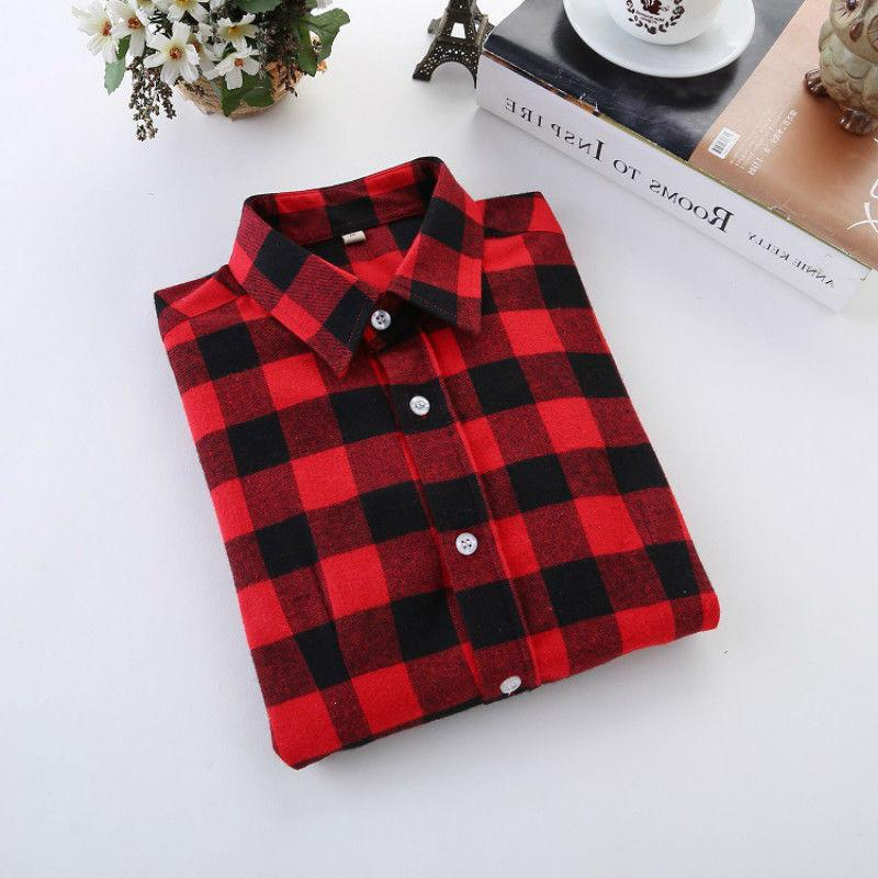 Plaid Women's Sleeve Flannel Casual Tee shirt