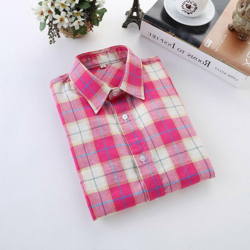 Plaid College Style Women's Sleeve Casual Blouses
