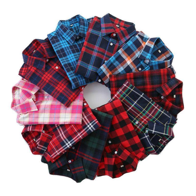 Plaid Shirt Women's Long Sleeve Casual Blouses Tee shirt