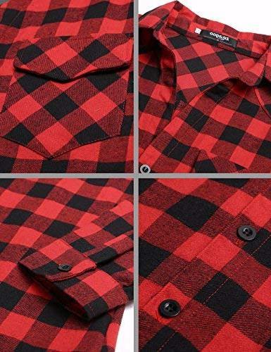 Zeagoo Womens Plaid Roll Boyfriend Button Down Tartan Flannel Shirt,