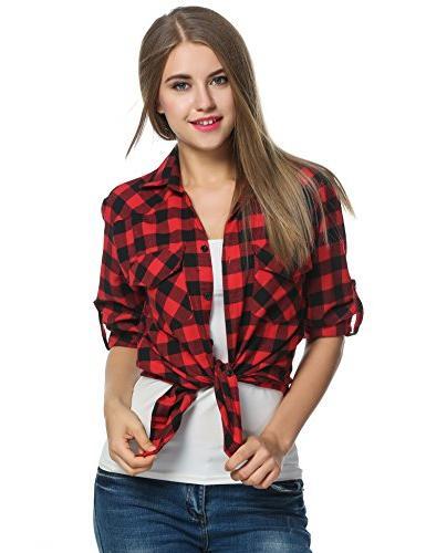 Zeagoo Plaid Shirt, Roll Sleeve Casual Boyfriend Button