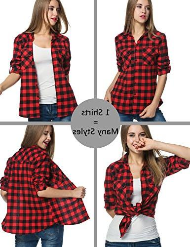 Zeagoo Shirt, Roll up Sleeve Casual Boyfriend Down Flannel Red,