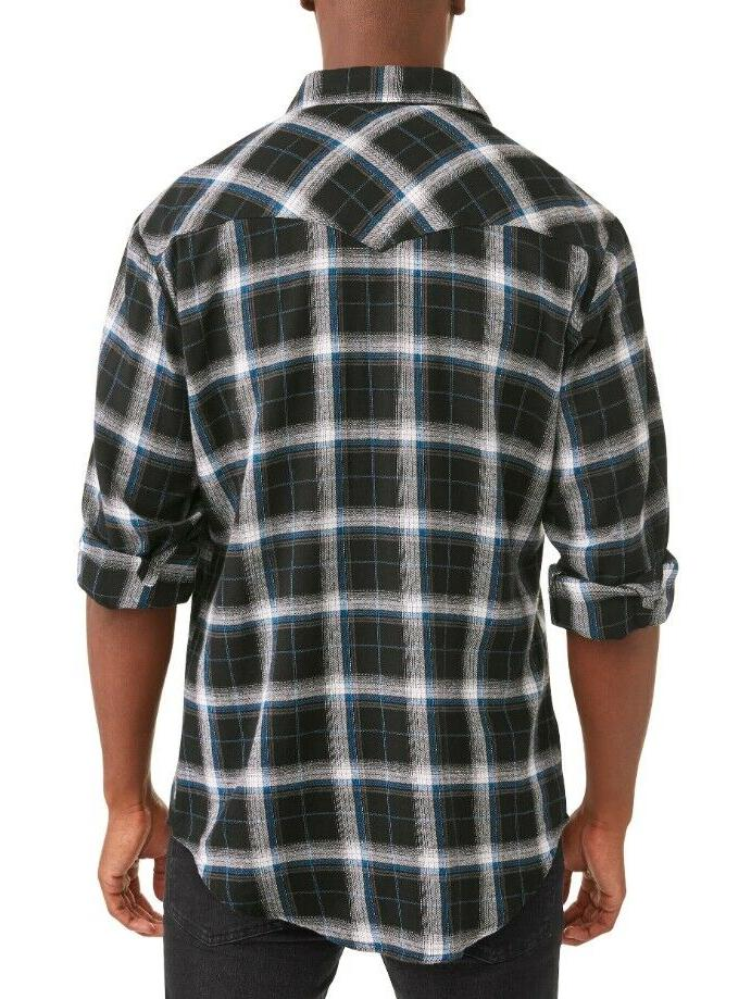 Plains Western Men's Long Shirt- Black Plaid 4XL