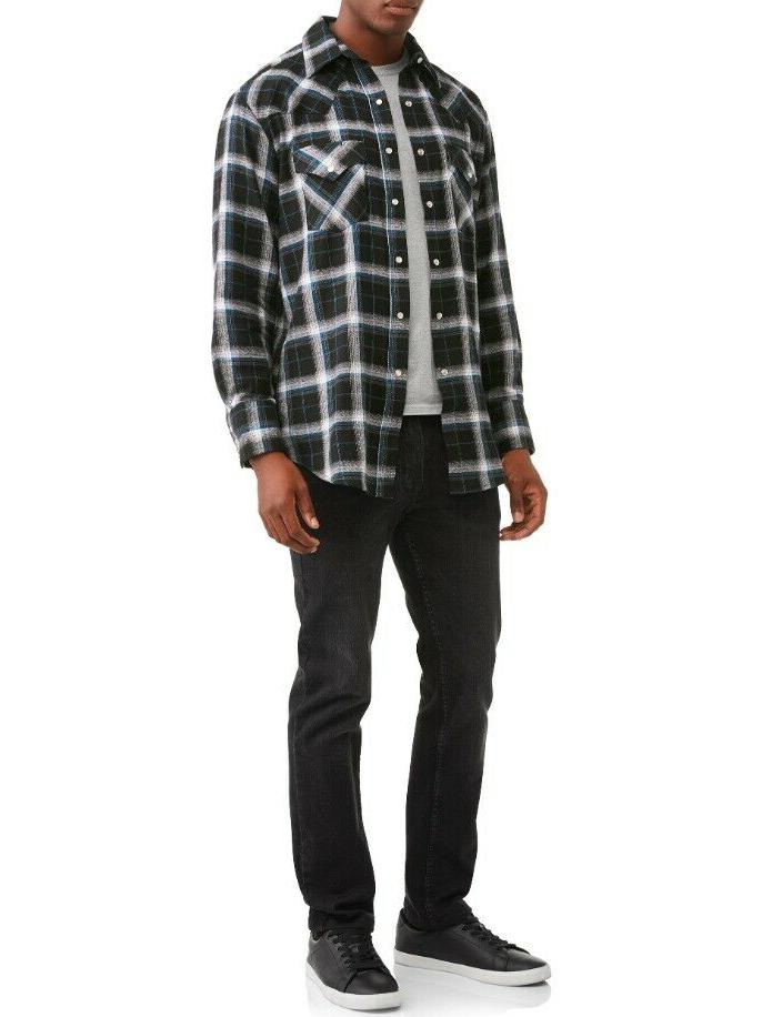 Plains Men's Long Black Plaid -