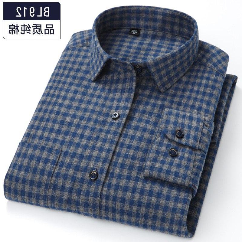 Plus 7XL 5XL Men's Plaid <font><b>Shirt</b></font> 100% Cotton Slim Fit Blouse Work Clothes