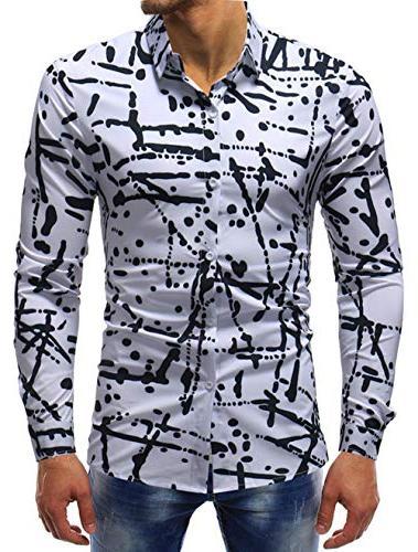 XTAPAN Dress Shirt-Slim Fit Sleeve Button Down Dress Asian 7311