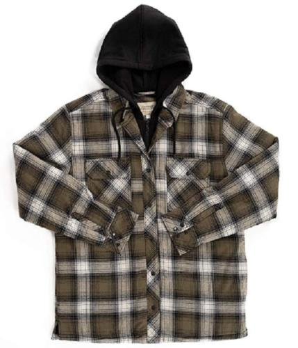 quilted lining flannel button front hooded shirt