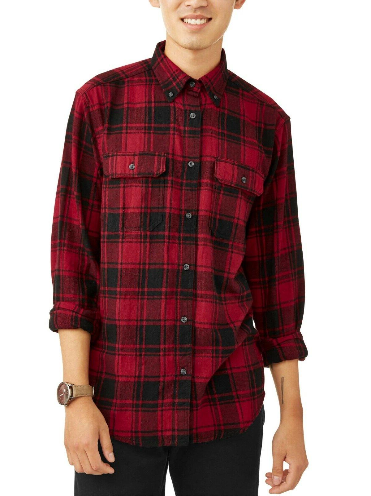 men s long sleeve flannel shirt l