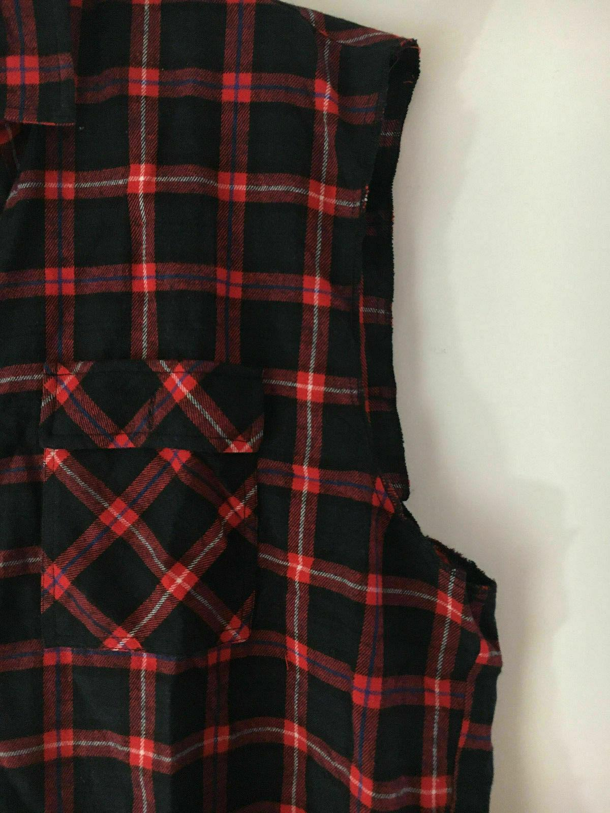 Coofandy Red Plaid Vest Mens size Hipster Sleeveless