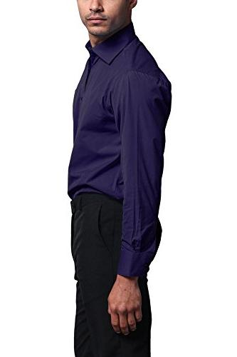 G-Style Men's Fit Sleeve French Convertible Dress - Purple -