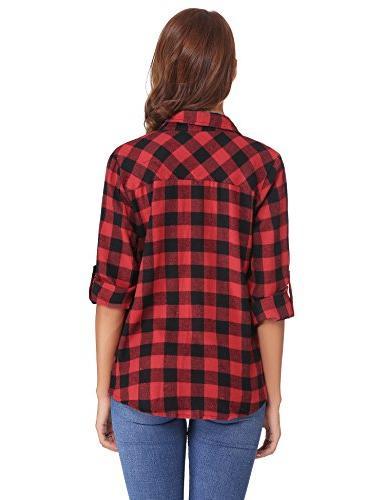 Abollria Long Sleeve Button Down Shirt (Red,XL