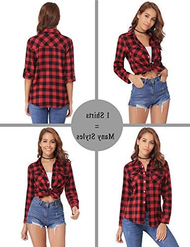 Abollria up Long Button Down Plaid Shirt