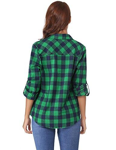 Abollria Roll Down Plaid (Green,S