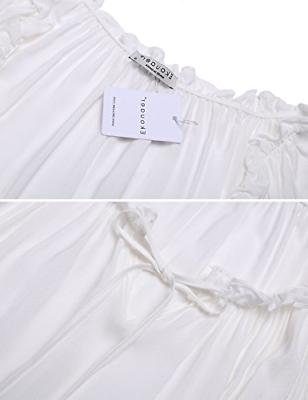Ekouaer Short Cotton Victorian Nightgown for Women