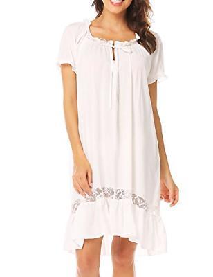 Ekouaer Short Cotton Nightgown Women
