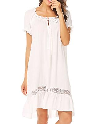 Ekouaer Short Sleeve Nightgown Cotton Victorian Nightgown fo