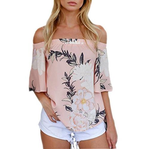 shoulder floral printed blouse casual