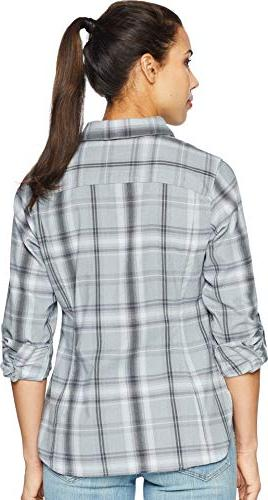 Columbia Silver Ridge Sleeve Flannel, Large, Grey Ombre