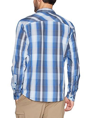 Columbia Plaid Long Shirt, Azul Plaid, Large