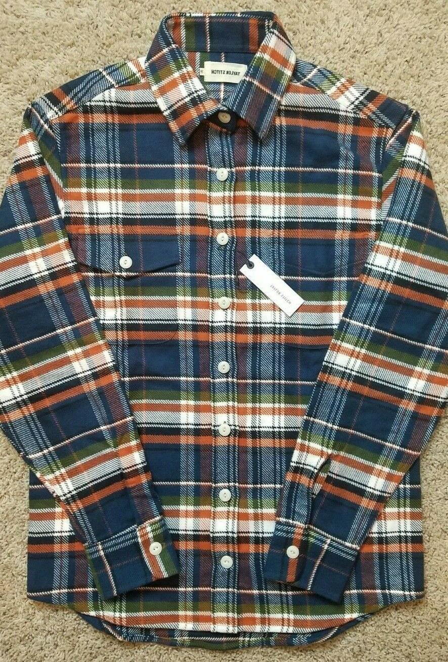 Taylor Size 38 The Crater Shirt Navy Plaid