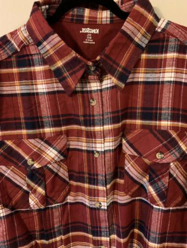 King Size Mens Red 3X Big Tall Button Down