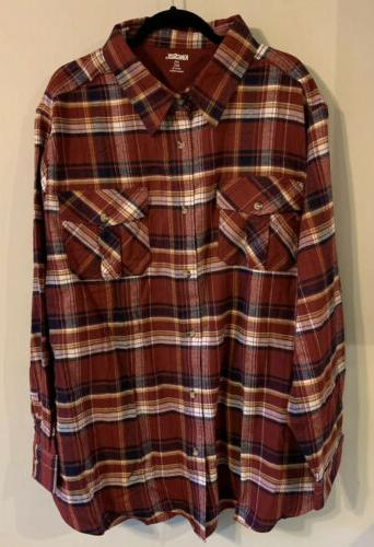 size mens flannel red plaid shirt size