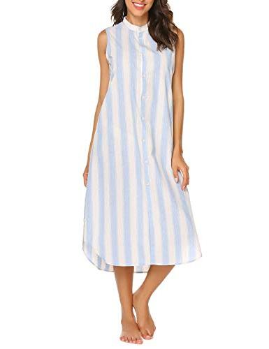 Ekouaer Sleepwear Sleeveless Nightgown Sleep Shirt