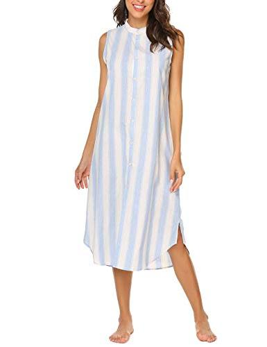 Ekouaer Women's Casual Sleeveless Nightgown Shirt