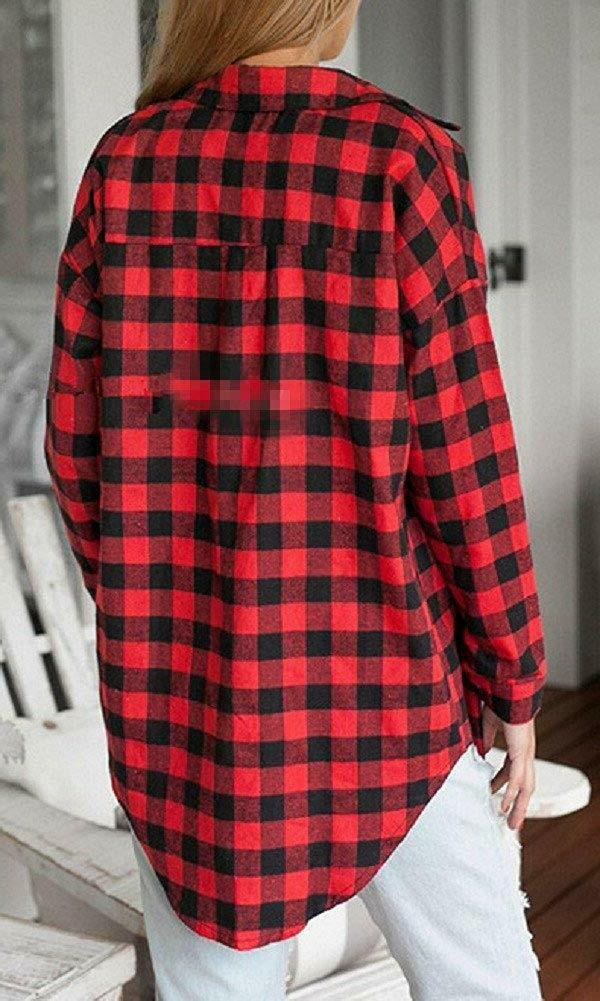Sorrica Long Plaid Flannel Blouse Shirt