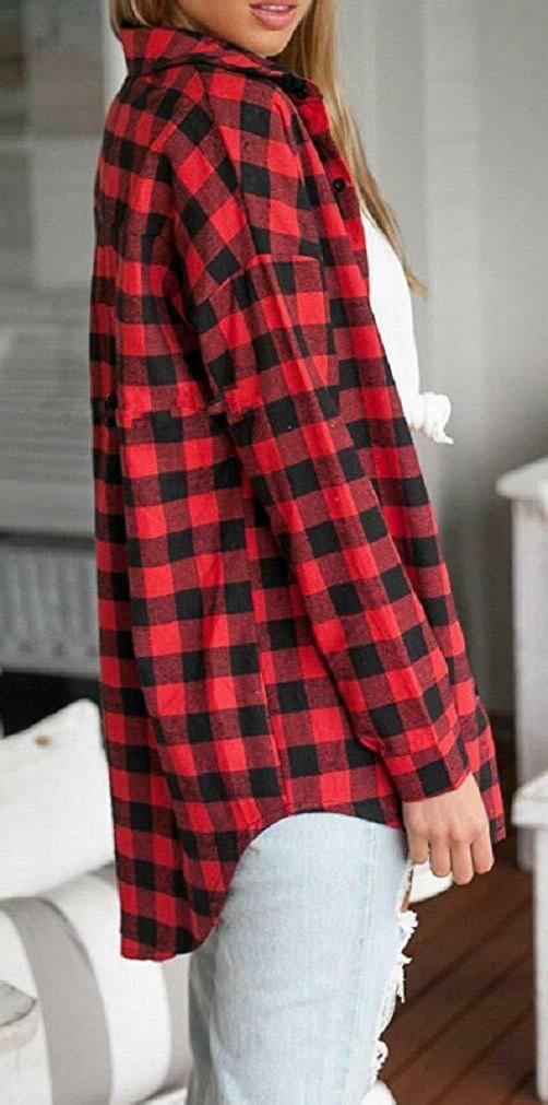 Sorrica Casual Long Plaid Flannel Blouse