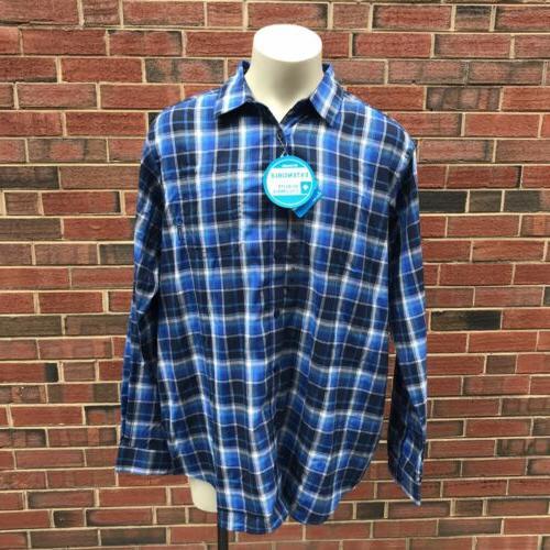 Columbia Vapor Mens XLT Blue Down Flannel Shirt