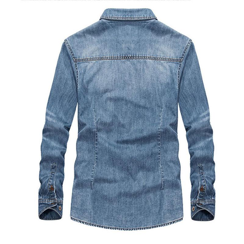Spring 100% Cotton Blue <font><b>Shirts</b></font> Retro Long Sleeves Men All <font><b>Match</b></font> Collar New