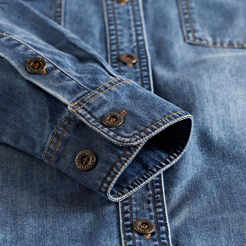 Spring Blue <font><b>Shirts</b></font> Retro Long Sleeves Men Military All Collar New