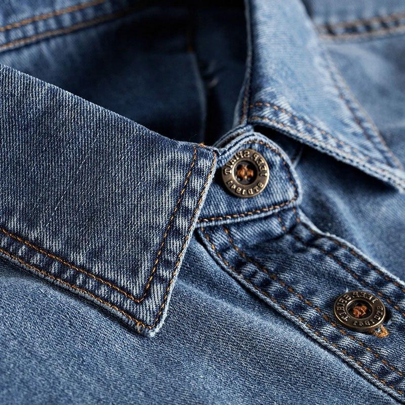 Spring 100% Blue Casual Long Men All <font><b>Match</b></font> Down Collar Men New