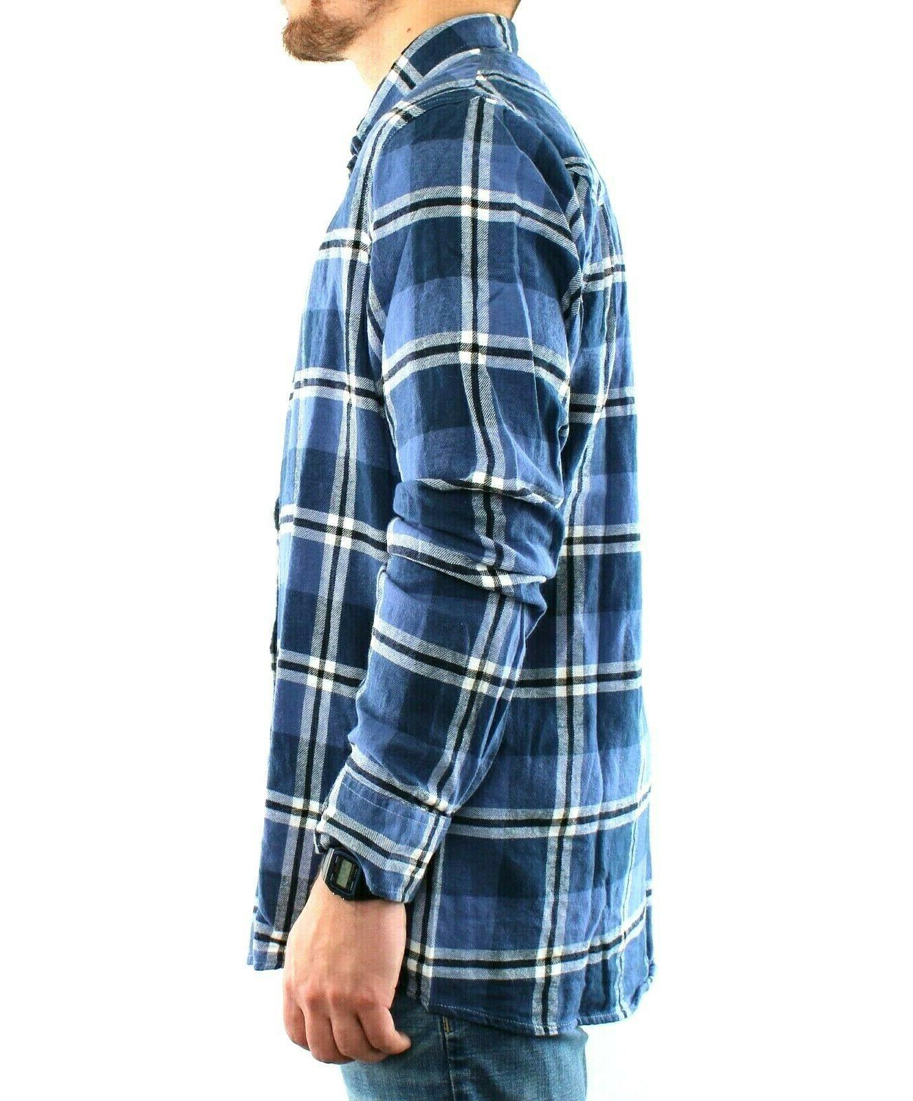 St. Johns Flannel Shirt Men's Plaid Sleeve Button