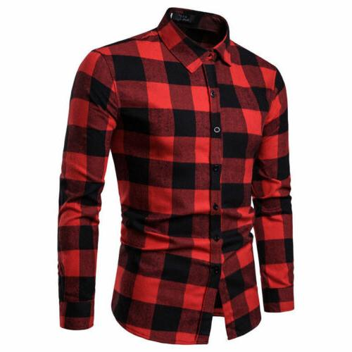 Classic Shirts Flannel Long Work Dress Tops