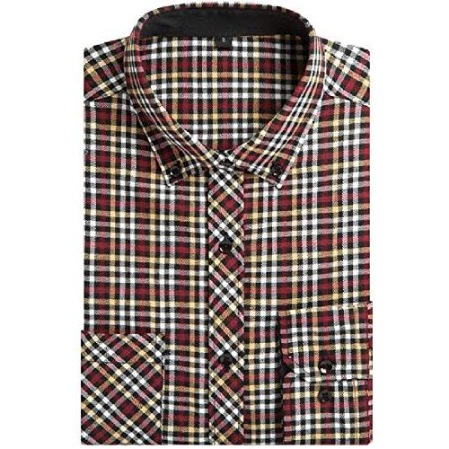 tootless men office plaid long sleeve leisure