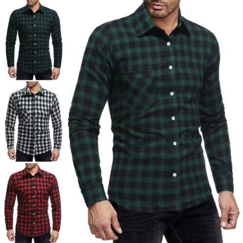 Classic Men's Plaid Shirts Work Dress Tops