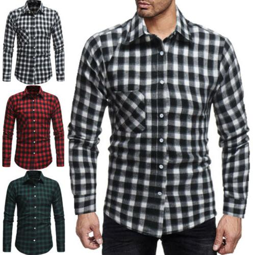 Classic US Shirts Flannel Work Dress Formal Tops