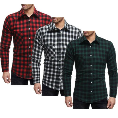 Classic Men's Shirts Flannel Work Dress Shirt Formal Tops